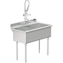 UTILITY SINK TWO COMP 21 X 18   W / PULL DOWN SPRAYER FAUCET