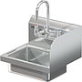 BRAZOS 16GA 14 X 10 X 5 HANDSINK W / WALL FAUCET  END SPLASH RIGHT